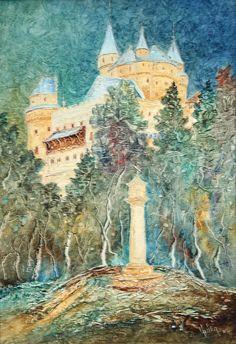 Pavel Móza - Bojnický zámok, olej, 2002, 41x29 cm, cena - 600€