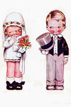 By Mabel Lucie Attwell Vintage Love, Vintage Prints, Vintage Pictures, Vintage Images, Vintage Cards, Vintage Postcards, Decoupage, Wedding With Kids, Vintage Valentines