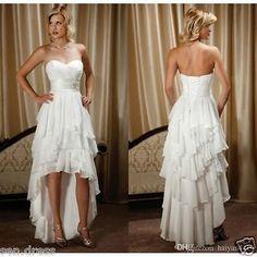 High Low A Line Country Wedding Dresses Chiffon Ruffles Bridal Gowns Custom