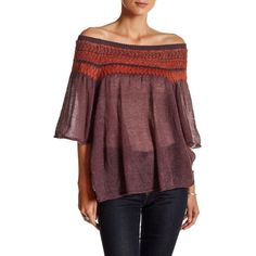 Free People Lock Lomand Off-The-Shoulder Sweater ($50) ❤ liked on Polyvore featuring tops, sweaters, purpl comb, moth sweaters, off shoulder tops, red top, red off shoulder sweater and red off the shoulder top