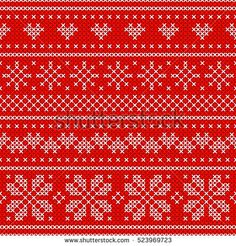 Red Holiday seamless pattern with cross stitch embroidered happy new year ornament (heart and snowflake). Christmas scheme endless design for package, web sites, textile. Art vector illustration.