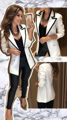 Apaixonada por essa produção ❣️ Blazer Tania | Calça Thaynara  Compras pelo site: www.estacaodamodastore.com.br . Whatsapp Site: (45)99953-3696 - Thalyta (45)99820-6662 - Jessica . Ou em nossas lojas físicas de Santa Terezinha de Itaipu e Medianeira - PR Formal Casual Outfits, Classy Outfits, Sexy Outfits, Casual Wear, Cool Outfits, Fashion Outfits, Business Professional Outfits, Business Casual Outfits, Business Dresses