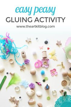 Easy Peasy Gluing Craft {An Invitation to Create} We love creating invitations to play and create! We set out the items and each and every time, the children come up