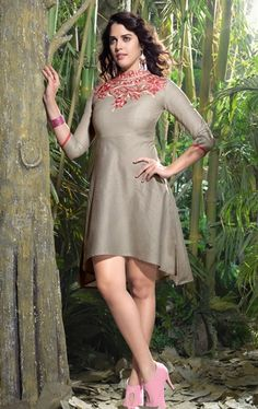 Picture of Gleaming Grey Color Linen Tunic