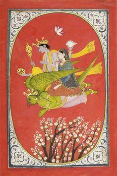Vishnu and Lakshmi Flying Upon Garuda c. 1820. Opaque watercolor on paper Possibly made in Kangra, Himachal Pradesh or Uttarakhand, Garwahl region, India
