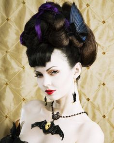 LOVED TO DEATH Gothic Victorian Edwardian Taxidermy Royal Blue Bird Wing Hair Fascinator Comb Right. $70.00, via Etsy. #paulmitchell #halloweenhair