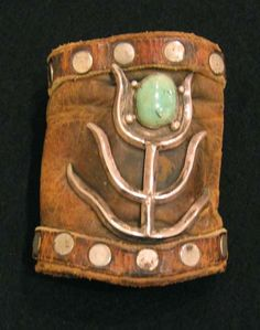 Ketoh Sandcast Corn Motif Mounted on Old Boot Leather - Old Pawn Jewelry