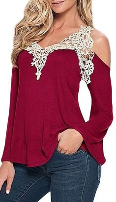 Long Sleeve Off Shoulder With Lace Shirt