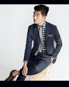 the plaid shirt is so sharp with this suit.