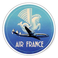 Vintage luggage label from Air France, featuring a Connie and a wonderful stylized creature that seems to be half horse, half bird, and half fish for no adequately explored reason. Typography Love, Graphic Design Typography, Vintage Luggage, Vintage Travel Posters, Voyage Air France, Airline Logo, France Art, Art Vintage, Luggage Labels