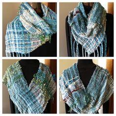 Saori infinity scarf woven by Karen Pardee / Serendipity SAORI Studio. So many ways to wear this!