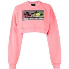 Alexander Wang cropped 'Mind Detergent' sweatshirt (6.270 ARS) ❤ liked on Polyvore featuring tops, hoodies, sweatshirts, sweaters, crop tops, alexander wang, print sweatshirt, cotton crew neck sweatshirt, red crew neck sweatshirt and red crop top