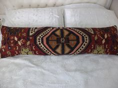 "48""x13"" inch 120x33 Cm Long Lumbar Pillow Cover,Bedding Kilim Pillow,Old Decorative Turkish Kilim Rug Pillow,Oversize Kilim Pillow."