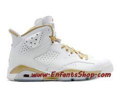san francisco 321a3 0ba7d Air Jordan VI (6) Retro Chaussures Jordan Officiel Pas Cher Pour Homme Blanc  Or