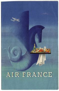 AIR FRANCE (France) - the Greek sea creature, the Hippocampus, used as the symbol of Air France vintage poster Old Poster, Retro Poster, Air France, Illustrations, Graphic Illustration, Vintage Advertisements, Vintage Ads, Art Deco Paintings, Travel Posters