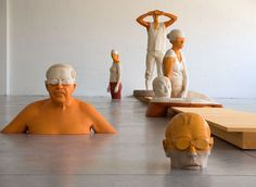 wooden sculptures by italian artist willy verginer...like the idea of wooden piece in floor. Maybe do loch in pir room?