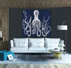 Canvas Lord Bodner Octopus, Giclee, Retro Octopus Triptych, Premium Archival Matte Paper, Navy Blue and White, Lord Bodner, Octopus, Kraken by STANLEYprintHOUSE  200.00 USD  We use a specially manufactured cotton blend canvas for archival printing, and high end printers to produce a stunning quality canvas that's made to last.  The printing technology used for the canvas is eco-solvent.  Our art is guaranteed to turn heads and will make a great afforda ..  https://www.etsy.com/ca/l..