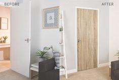 GUIDE & VIDEO - Se hvordan du pusser opp døren med kontaktplast!  Perfekt for deg som liker å bytte farger med trendene, har møbler som trenger litt kjærlighet, har lite budsjett eller leier.  www.lindasdekor.no  #lindasdekor #oppussing #inspirasjon #hjem #diy #gjørdetselv #interiør #kontaktplast #selvklebendefolie #folie #dekorplast #dør Tall Cabinet Storage, Divider, Room, Furniture, Home Decor, Homemade Home Decor, Rooms, Home Furnishings, Decoration Home