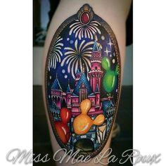 Beautiful Disneyland tattoo  by Miss Mae at Sacred Tiki Tattoo