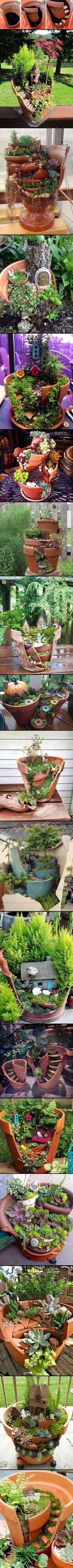 Schöne Gartendeko aus zerbrochenen Blumentöpfen