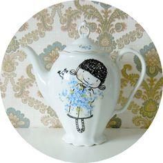 Handpainted vintage flower girl tea by Bo