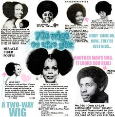 Vintage 70s Afro wigs. I remember these ads from the back of magazines. Love them.