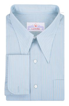 Luxire dress shirt constructed in Light Blue White Stripes: http://custom.luxire.com/products/light-green-white-stripes-by-monti  Consists of spear point collar and french cuffs.