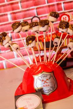 S'mores pops at a fire truck birthday party! See more party ideas at CatchMyParty.com!