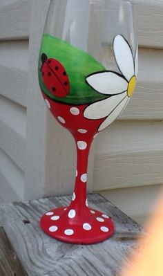 Fun and whimsical ladybug wine glass hand pianted 20 oz glass. Makes a fun gift for the one that adores ladybugs.hand painted red stem with