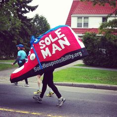At the marathon, there was this one 'running shoe'. #ottawaraceweekend #ottawa #marathon #genius