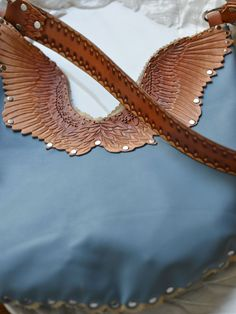Wingspan Bag Hand Tooled Leather Hawk Wing Purse by sunnyrising
