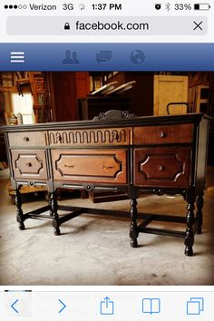 Black and brown stained furniture Furniture Repair, Door Furniture, Find Furniture, Furniture Makeover, Painted Furniture, Furniture Refinishing, Furniture Ideas, Sideboard Buffet, Paint Stain