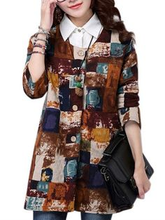 Folk Style Loose Women Ink Printing O Neck Long Sleeve Cotton Coat