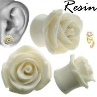 Wholesale Body Jewelry White Resin Hybrid Tea Rose Body Jewelry (Sold By Pair) Product Code: Wholesale Body Jewelry, Hybrid Tea Roses, Selling Jewelry, Plugs, Eden Rose, Resin, Things To Sell, Corks