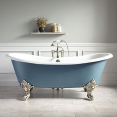 Buy the Signature Hardware 415283 Dark Gray / Brushed Nickel Feet Direct. Shop for the Signature Hardware 415283 Dark Gray / Brushed Nickel Feet Lena Cast Iron Clawfoot Tub with Monarch Imperial Feet and save. Clawfoot Tub Bathroom, Bathroom Red, Yellow Bathrooms, Small Bathroom, Bath Tub, Modern Bathrooms, Master Bathrooms, Bathroom Mirrors, Bathroom Cabinets