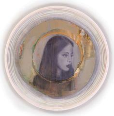attila szucs, girl with auratic circle, acrylic on gesso on board, 68x68cm 2015