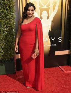 Red hot! Mindy Kaling looked ravishing in a red one-shoulder gown ...