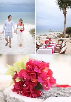 Look at the bougainvillea bouqet! I would love to use some of my bougainvillea in the wedding flowers.