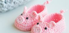 Piggy Crochet Baby Booties by Croby Patterns