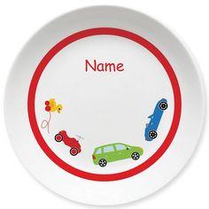 Abgefahren! Ob Cabrio, Kombi, Spielzeug-Auto oder Entchen - jeder hat seinen eigenen fahrbaren Untersatz auf diesem Melamin-Teller mit Namen