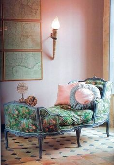 """A duchesse en bateau (""""duchess in a boat""""). Upholstery greens relate to green of maps on wall -- all of which pop against soft pink walls. Ideas Para Organizar, French Furniture, Floral Furniture, French Decor, Decoration, Decorating Your Home, Love Seat, Shabby Chic, House Design"""