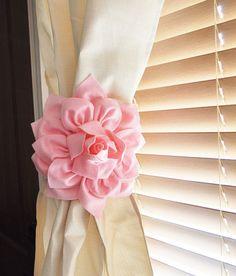 TWO Dahlia Flower Curtain Tie Backs Curtain Tiebacks Curtain Holdback -Drapery Tieback-Baby Nursery Decor-Lilac Decor