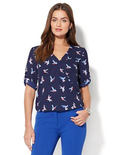 Shop Soho Soft Shirt - Wrap-Front Blouse - Bird Print. Find your perfect size online at the best price at New York & Company.