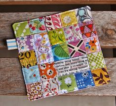 Patchwork Happy Coaster by Heidi Staples of Fabric Mutt Scrap Fabric Projects, Easy Sewing Projects, Fabric Scraps, Quilting Projects, Sewing Crafts, Rag Quilt, Scrappy Quilts, Mini Quilts, Mug Rug Patterns