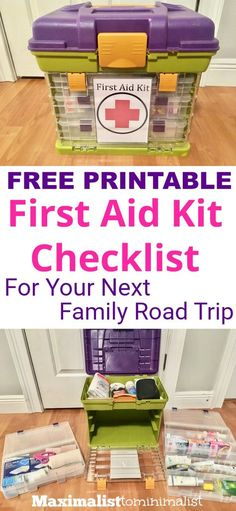 Going on a road trip? Don't forget the first aid kit! Going camping? You need this first aid kit checklist before you go! Going on a road trip? Don't forget the first aid kit! Going camping? You need this first aid kit checklist before you go! First Aid Kit Checklist, Camping Checklist, Camping Essentials, Kids Checklist, Camping Guide, Camping First Aid Kit, Go Camping, Camping Ideas, Camping Hacks