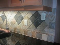 Kitchen Backsplash Idea backsplash ideas for blue pearl granite | diamond pattern ivory