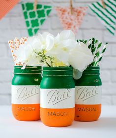 Tutorial on how to make Irish flag mason jars for St. Patrick's Day. I'm Irish. Okay, half Irish. On my mother's side. But I'm still Irish proud …  freckles and all!  In my days of yore (which means thedays before marriage and kids) I greatly enjoyed partaking in the Irish St. Patrick's day …