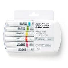 Winsor & Newton Pigment Marker - plastieken etui - assortiment van 6 markers - Schleiper