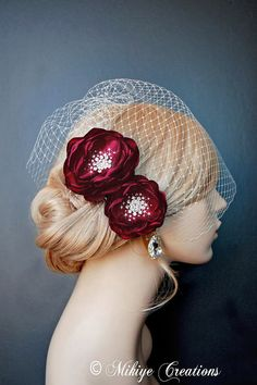 Gorgeous Blood Red Wedding Headpiece Dark Red Bridal Hair Flowers by MikiyeCreations