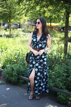 outfit: vintage floral button through maxi dress